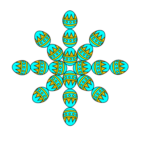 Snowflake from items Easter egg. Abstract hand drawn snowflake in the European style. Concept design greeting cards New year.