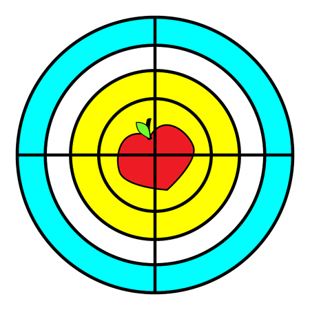 Goal. Icon. Red, yellow. Vector flat. Strategy sign symbol The Apple and heart