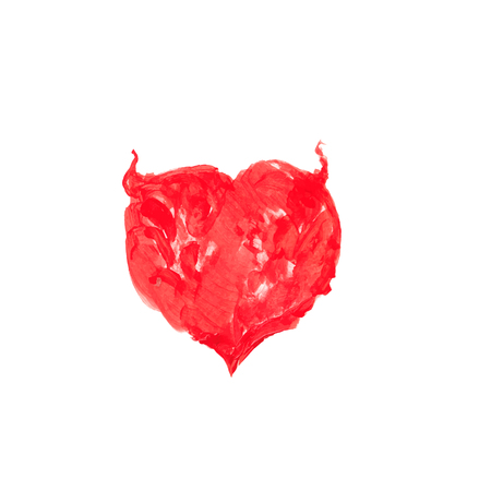 Watercolor red heart vector element for your design Handmade