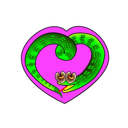 囲まれたヘビのシンボルを持つハートフレーム。休日の恋人バレンタインのベクトルイラスト