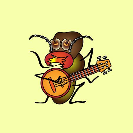 Dibujos animados de ilustración aislada. Una termita hambrienta que toca el banjo. Vendimia Foto de archivo - 91297488