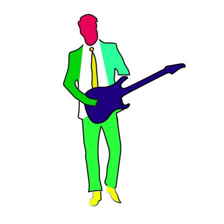 Rock musician man character playing guitar cartoon vector Illustration