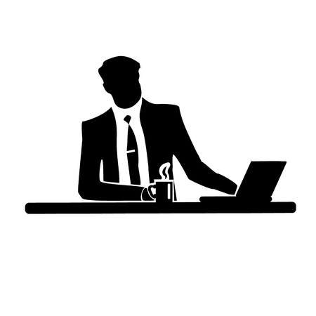 Businessman silhouette of a man in a suit and tie on white background. Drinking from a mug with a laptop.