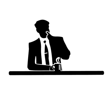 Businessman silhouette of a man in a suit and tie on white background. Drinking from a mug and touching the nose. Vector. Illustration