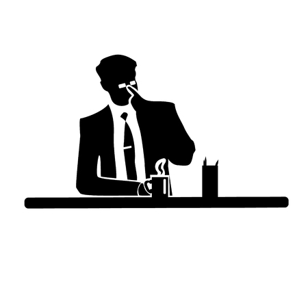 Businessman silhouette of a man in a suit and tie on white background.Corrects glasses and drinking from a mug. Vector illustration. From there success.
