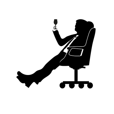 Businessman man sitting in a modern chair. To relax your legs. Holding a glass. To drink. Success. Motif favorite songs. Çizim