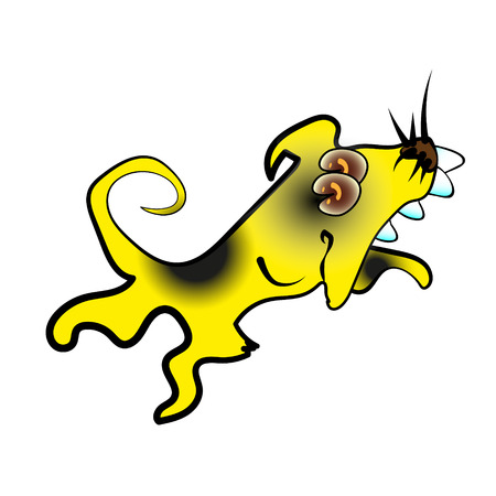 Cute Yellow Dog 2018. Cartoon character vector illustration for the New Year s design. Dog - symbol of 2018 on the Chinese calendar.