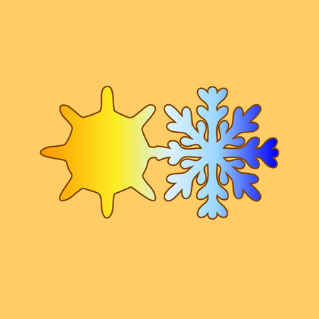 Sun with snowflake.