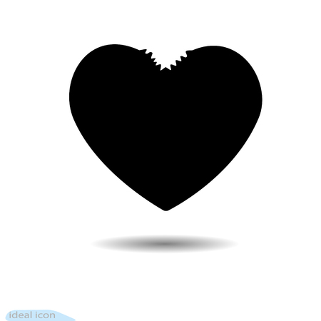 The heart icon. A symbol of love. Valentine s day with teeth Flat style for graphic and web design, logo. Black as coal. A lot of soot. Shadow.