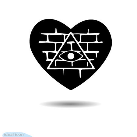 Heart icon. All-seeing eye. A symbol of love. valentine s day. Brick wall. Black as coal. Frame. A lot of soot. Shadow. Exercises and protection. Vector. Egypt. Currency. Triangular pyramid Masons