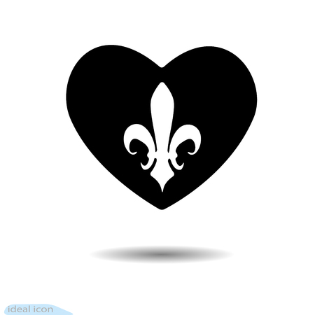 Black heart icon with heraldic lily illustration. Illustration