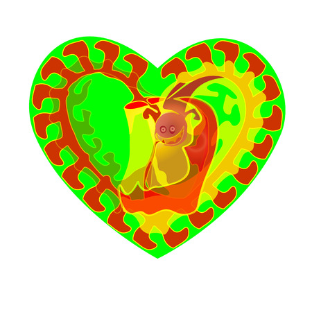 Abstraction for Valentine s Day. Vector worm. The heart of the green. Icon. Frame. Illustration. Fractal and abstraction, the worm and his heart.