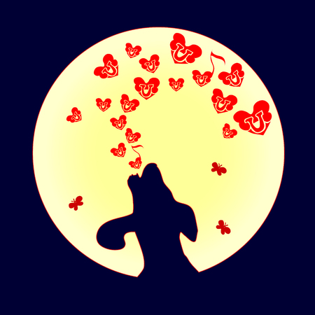 Wolf or dog is howling to the moon with small red heart. Vector illustration of love and hearts. Song of the bones on Valentine's Day.
