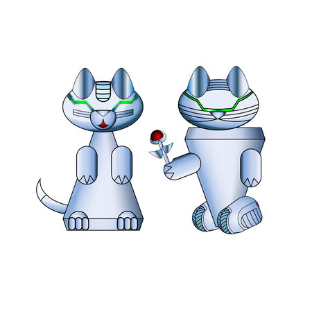 Modern realistic cat robots. Arrangement Valentine s day. Cybernetic nano assistants. Futuristic innovations integrated into our lives. Vector illustration of artificial intelligence.