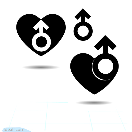 The signs gender icon of the heart. A symbol of love. Valentine s Day. Flat style for graphic design. Illustration