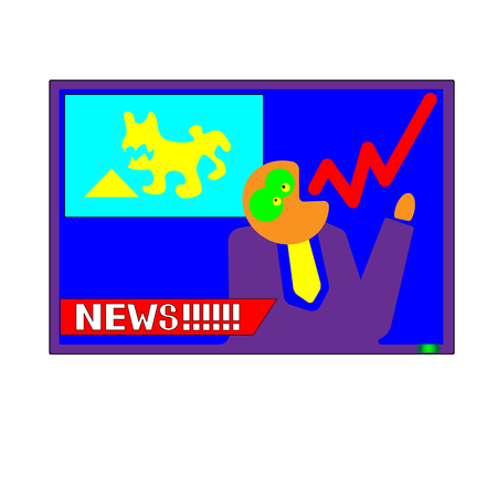 Vector hand drawn pop art male announcer says. The concept of the latest news. Superstil. Illustration for print, web Illustration
