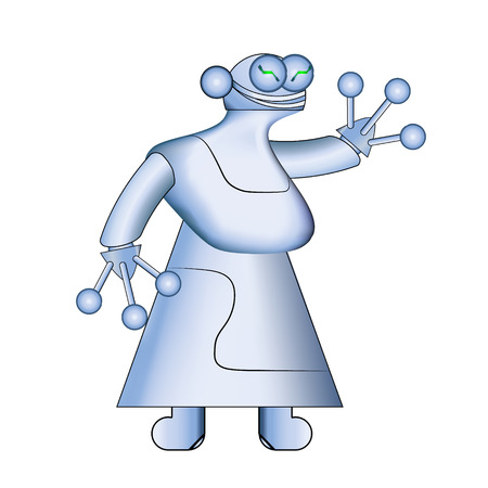 Woman white robot.Modern realistic robots. Vector illustration. Cybernetic nano assistants. Futuristic innovations integrated into our lives. Artificial intelligence. Illustration
