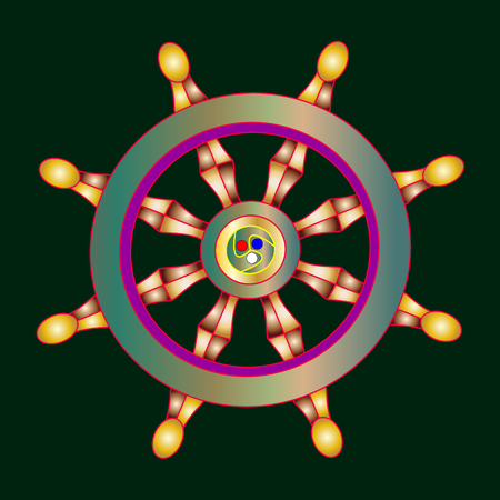 Vector illustration golden Dharma wheel. Buddhism vector symbol.