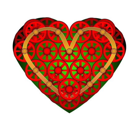 Heart icon. A symbol of love. Valentine s day with the sign of the Little wheels. Flat style for graphic and web design. Illustration
