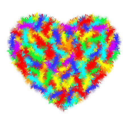 Heart icon. A real symbol of love for Valentine s day with the sign of the hairy furry all color. Flat style for graphic and web design.