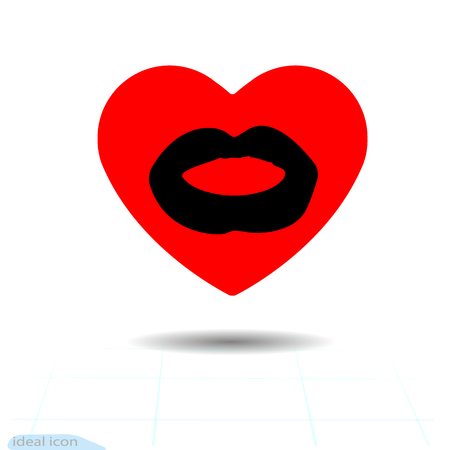 heart red icon and lip imprint, Valentine holidays and love from vector. Illustration