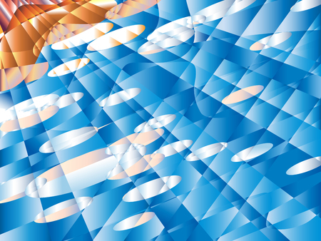 Blurred pseudo polygons, on blue Summer sky abstract background. Clear, with clouds. Vector background sky Ilustração