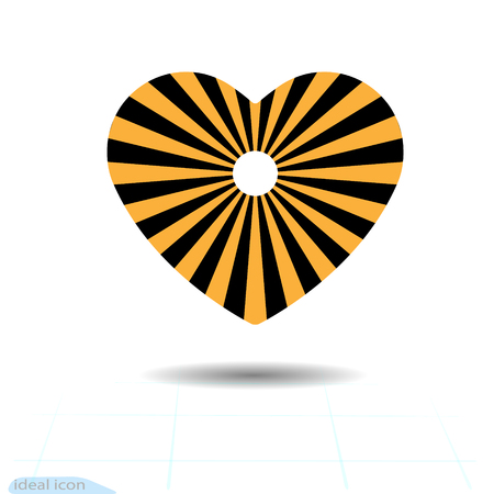Heart icon. A symbol of love. Valentine day with the sign of sun. Flat style for graphic and web design, logo. Sun icon. Vector illustration.
