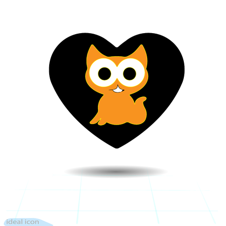 Heart vector black icon, Love symbol. Cute kitty in heart. Valentines day sign, emblem, Flat style for web design, logo. Graceful orange cat for your design  イラスト・ベクター素材