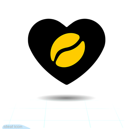 Heart vector black icon, a symbol of love. Coffee orange grain in the heart. Valentines day sign, emblem, flat style for graphic and web design, logo. Vector