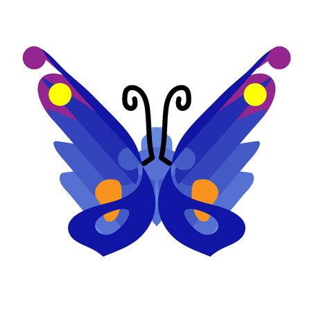 Butterfly icon in flat. Blue butterfly icon. Design element, sign, symbol. Isolated object on white background. Vector illustration. The party decorations. Gift card. Illustration