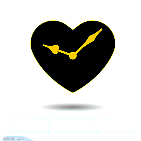 Heart vector black icon. Orange hands clock in heart. Valentines day sign, emblem, Flat style for graphic and web design, icon . Vector Illustration, of Orange Clock Icon
