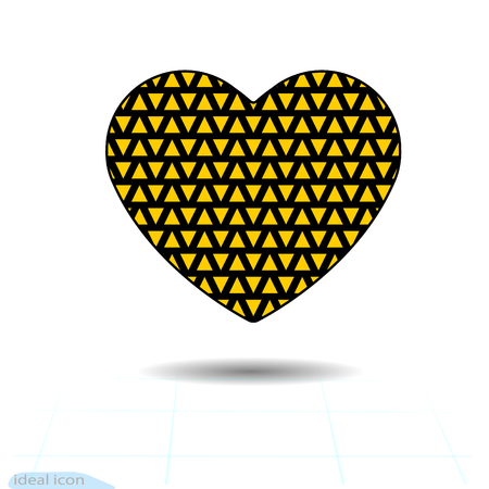 Heart icon. A symbol of love. Valentines day with of the texture of the little orange triangles. Flat style for graphic and web design vector illustration.