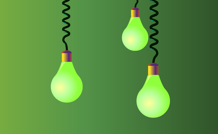 Hanging on cords three light bulbs on a green background. Vector.