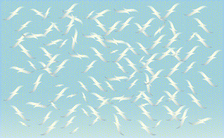 A flock of birds feeding on vector, silhouettes of flying seagulls, set of isolated white outlines of soaring birds. Geometric texture.