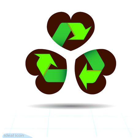 Recycled materials green symbol located on abstract three leaf clover leaf in shape of heart, an attribute to St. Patricks day. Arrows eco sign on Heart. Cycle recycled icon. Recycled materials symbol. Vector Icon