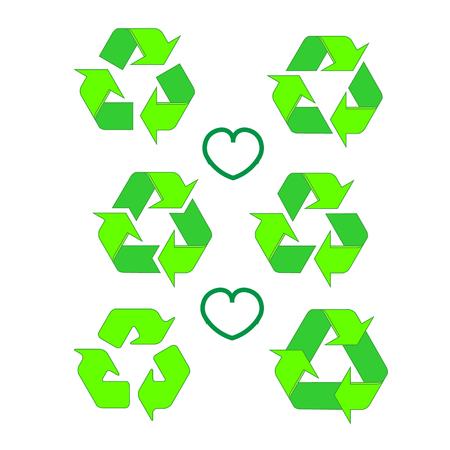 Gerecycleerde eco vector icon set. Recycle pijlen ecologie symbool. Gerecyclede cycluspijl. Vector illustratie geïsoleerd op een witte achtergrond