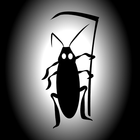 Cockroach Death. Vector illustration for insect control services. Terrible mystical mystery