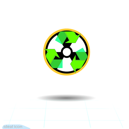 Radioactive waste recycling vector icon. Recycle arrows ecology symbol. Recycled cycle arrow eco. Logotype garbage recycle concept. Hazardous waste recycling poster and icons
