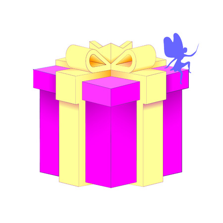 Isolated Vector Illustration Gift Box with a bow-knot with wrapped paper.