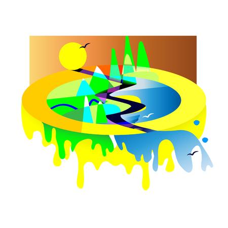 Geometric of mountain landscape with lake, colourful with used elements set like mountains, road. Ilustração
