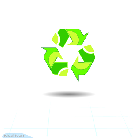 Recycled eco vector icon. Recycle arrows ecology symbol. Recycled cycle arrow. Vector illustration isolated on white background