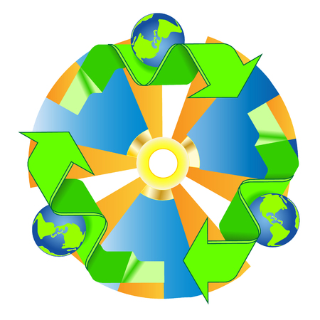 Recycled eco vector icon.