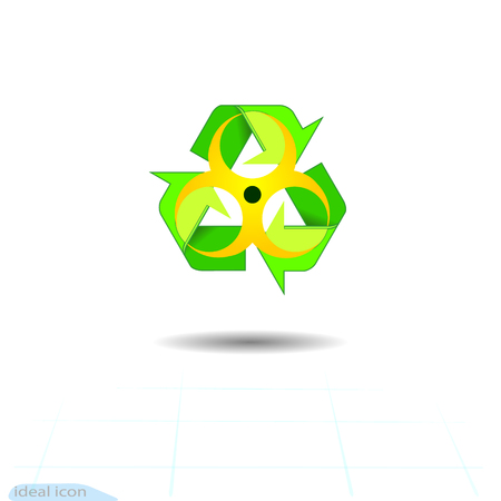 Bio hazard Recycled,  vector icon isolated on white background.