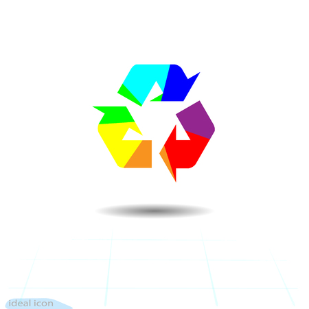Rainbow recycling, recycled icon, ecology vector. Recycle arrows ecology symbol vector illustration isolated on white background.