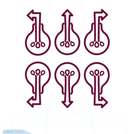 Modern high-tech bulb with an arrow. Light bulb arrows. Innovation business marketing strategy concept, infographic. Vector illustration Illustration