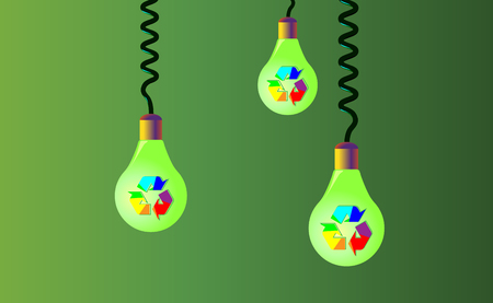 Hanging on cords three light bulbs on a green background, on them there is rainbow recycling, recycled icon, eco vector .Recycle arrows ecology symbol . Recycled cycle arrow. Vector.