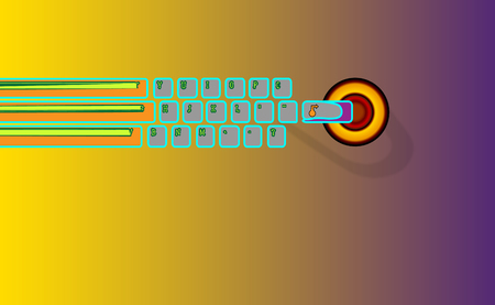 Hand is needed for enter, Abstract background keyboard, go a e-learning. Illustration