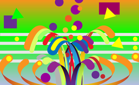 Modern abstract background, composition made of various rounded shapes in color. Vector illustration, fireworks Vectores