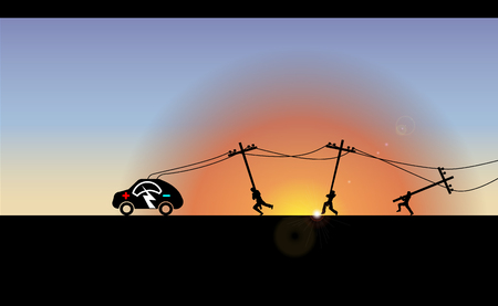 Vector Illustration of electric vehicle at sunrise. Trekking e-car line silhouette with electricity flash lighting thunderbolt sign. Running workers carry the poles. Joke.