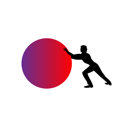 Man pushing a red sphere, ball or orb - isolated over a white background. Artless vector object